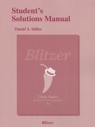 Student's Solutions Manual for College Algebra: Early: Blitzer, Robert F.