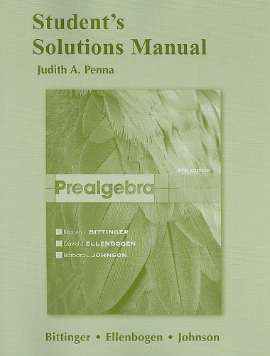 9780321730954: Student Solutions Manual for Prealgebra