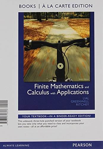 9780321746603: Finite Mathematics and Calculus with Applications, Books a la Carte Edition (9th Edition)
