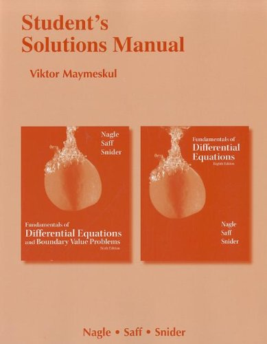 9780321748348: Student's Solutions Manual for Fundamentals of Differential Equations 8e and Fundamentals of Differential Equations and Boundary Value Problems 6e