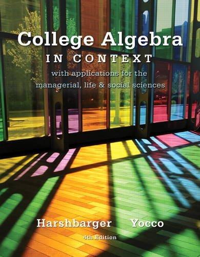 9780321756268: College Algebra in Context (4th Edition)