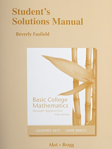 9780321757128: Student Solutions Manual for Basic College Mathematics through Applications