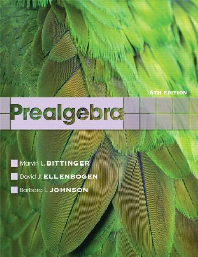 Prealgebra (9780321760098) by Marvin L. Bittinger; David J. Ellenbogen; Barbara L. Johnson
