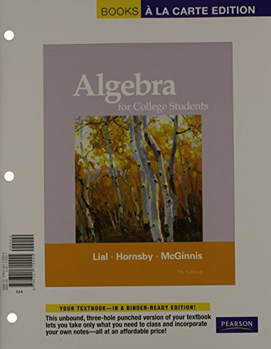 9780321771780: Algebra for College Students, Books ala Carte Plus MML/MSL Student Access Code Card (for adhoc valuepacks) (7th Edition)