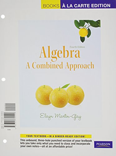 Algebra: A Combined Approach, Books MML/MSL (for