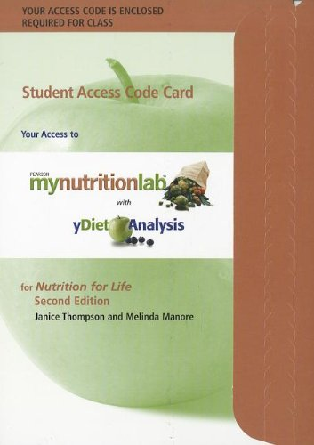 9780321775122: MyNutritionLab with MyDietAnalysis Student Access Code Card for Nutrition for Life (2nd Edition) (Mynutritionlab (Access Codes))