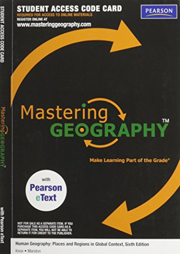 9780321776525: MasteringGeography with Pearson Etext - Valuepack Access Card - for Human Geography: Places and Regions in Global Context (ME Component)