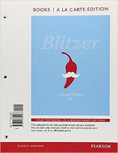 9780321782298: College Algebra, Books a la Carte Edition (6th Edition)