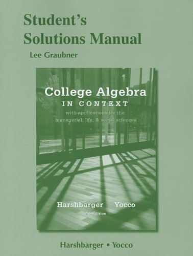 9780321783554: Student's Solutions Manual for College Algebra in Context