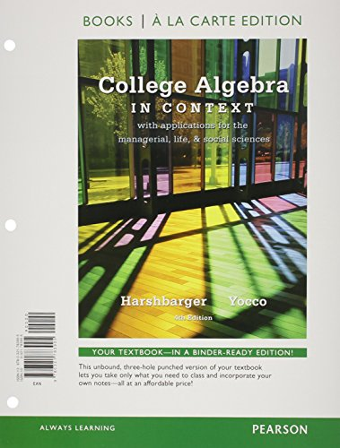 9780321783905: College Algebra in Context, Books a la Carte Edition (4th Edition)