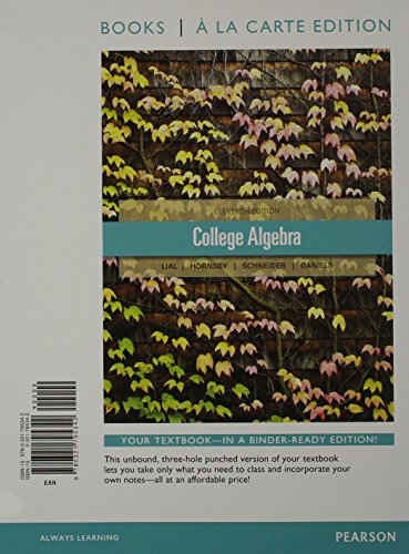 9780321795342: College Algebra, Books a la Carte Edition (11th Edition)