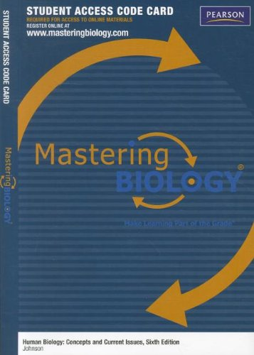 9780321802620: MasteringBiology -- Standalone Access Card -- for Human Biology: Concepts and Current Issues (Mastering Biology (Access Codes))
