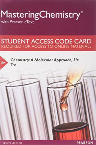 9780321806383: MasteringChemistry with Pearson eText -- Standalone Access Card -- for Chemistry: A Molecular Approach, Student Solutions Manual for Chemistry (3rd Edition)