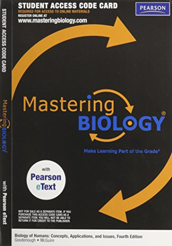 MasteringBiology with Pearson eText -- ValuePack Access: Goodenough, Judith; McGuire,