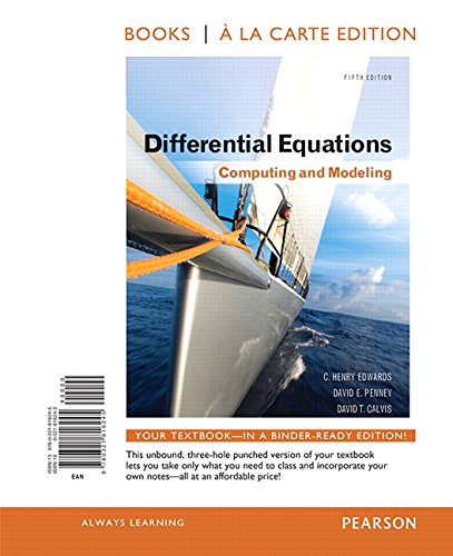 9780321816245: Differential Equations: Computing and Modeling, Book A La Carte Edition (5th Edition)