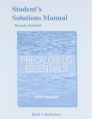 9780321816993: Student's Solutions Manual for Precalculus Essentials