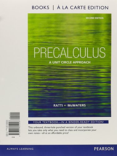 9780321825926: Precalculus: A Unit Circle Approach, Books a la Carte Edition (2nd Edition)