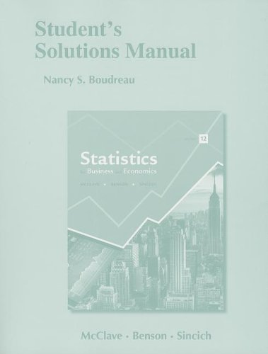 9780321826299: Student's Solutions Manual for Statistics for Business and Economics