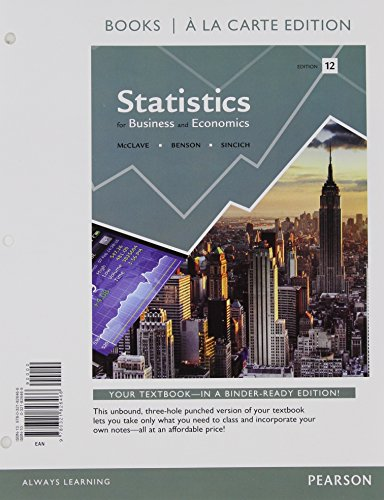 9780321826466: Statistics for Business and Economics, Student Value Edition (12th Edition)