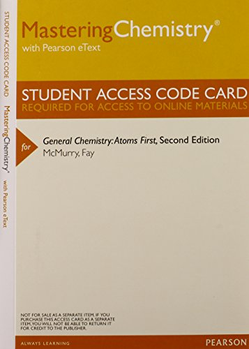 9780321834188: MasteringChemistry with Pearson Etext -- Valuepack Access Card -- for General Chemistry: Atoms First