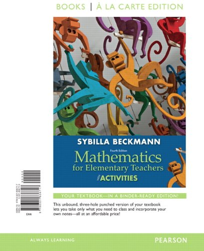 Mathematics for Elementary Teachers with Activities, Books: Beckmann, Sybilla
