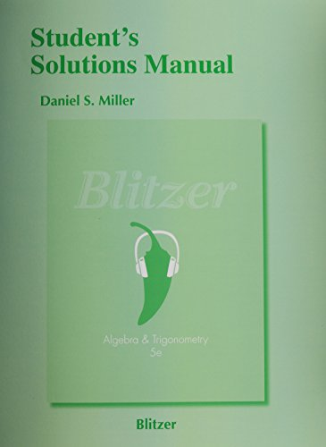 9780321837363: Student's Solutions Manual for Algebra and Trigonometry