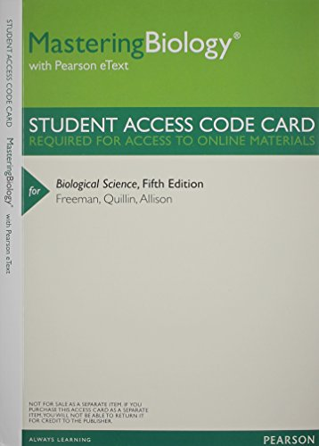 9780321842176: MasteringBiology with Pearson EText -- ValuePack Access Card -- for Biological Science