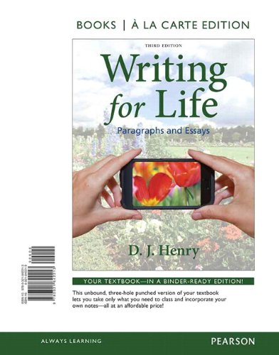 9780321842442: Writing for Life: Paragraphs and Essays, Books a la Carte Plus MyWritingLab with eText -- Access Card Package (3rd Edition)