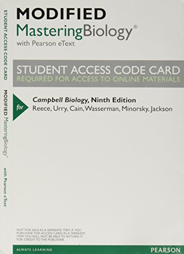 9780321843999: Modified Mastering Biology with Pearson eText -- ValuePack Access Card -- for Campbell Biology (9th Edition)