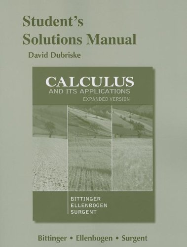 9780321844170: Students Solutions Manual for Calculus and Its Application, Expanded Version