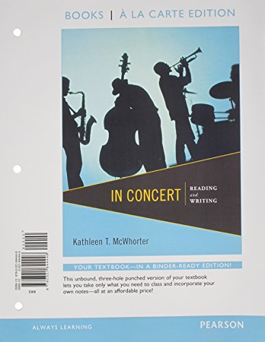 9780321844446: In Concert: Reading and Writing, Books a la Carte Edition
