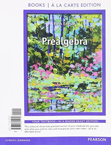 Prealgebra, Books a la Carte Edition (5th: Lial, Margaret L.,