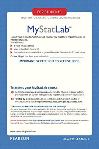 9780321847997: MyStatLab Glue-in Access Card