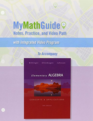 9780321848161: MyMathGuide: Notes, Practice, and Video Path for Elementary Algebra: Concepts & Applications