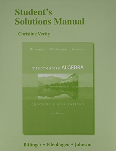 9780321848369: Student's Solutions Manual for Intermediate Algebra: Concepts & Application