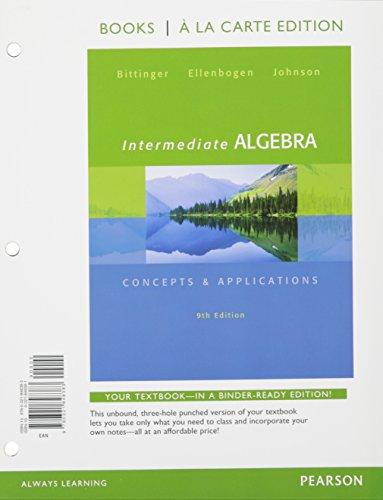 9780321848383: Intermediate Algebra: Concepts & Application, Books a la Carte Edition (9th Edition)