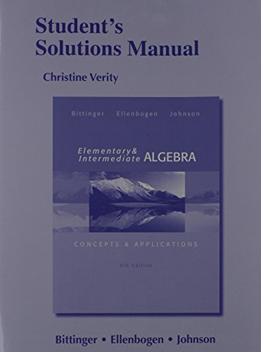9780321848772: Student's Solutions Manual for Elementary and Intermediate Algebra: Concepts & Applications