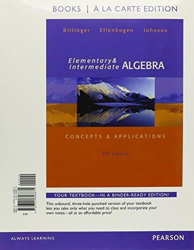9780321848871: Elementary and Intermediate Algebra: Concepts & Applications, Books a la Carte Edition (6th Edition)