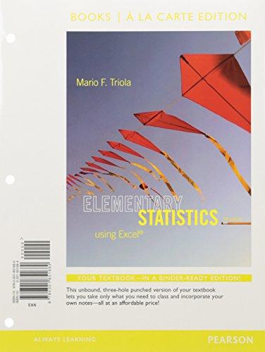 9780321851680 elementary statistics using excel books a la carte