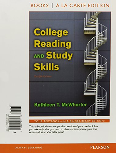 9780321854063: College Reading and Study Skills, Books a la Carte Plus NEW MyReadingLab with eText -- Access Card Package (12th Edition)
