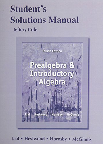 9780321854841: Student's Solutions Manual for Prealgebra and Introductory Algebra