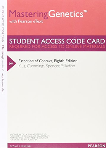 9780321857002: MasteringGenetics with Pearson Etext -- Valuepack Access Card -- for Essentials of Genetics