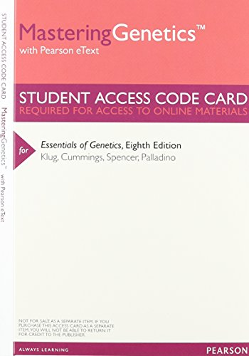9780321857163: Essentials of Genetics, Books a la Carte Plus MasteringGenetics with eText -- Access Card Package (8th Edition)