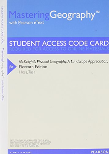 MasteringGeography with Pearson Etext -- Valuepack Access: Hess, Darrel; Tasa,