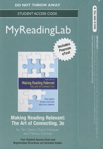 9780321866134: NEW MyReading Lab with Pearson etext -- Standalone Access Code -- for Making Reading Relevant: The Art of Connecting (3rd Edition) (Myreadinglab (Access Codes))