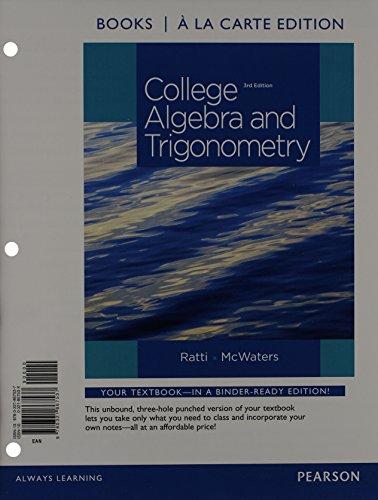 9780321867537: College Algebra and Trigonometry, Books a la Carte Edition (3rd Edition)