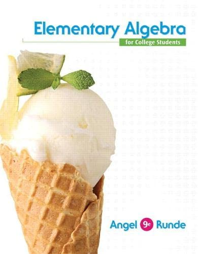 Elementary Algebra For College Students (9th Edition): Angel, Allen R.;