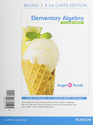 9780321868145: Elementary Algebra for College Students, Books a la Carte Edition (9th Edition)