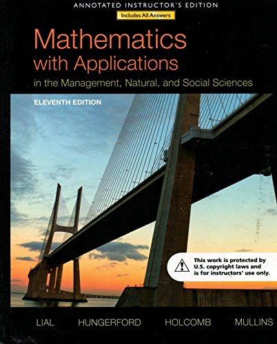 9780321869241: Mathematics with Applications Management, Natural, and Social Sciences 11ed AIE