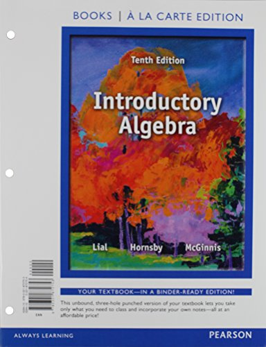 9780321872753: Introductory Algebra, Books a la Carte Edition (10th Edition)